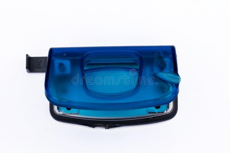 蓝色塑料手工打孔器 库存图片