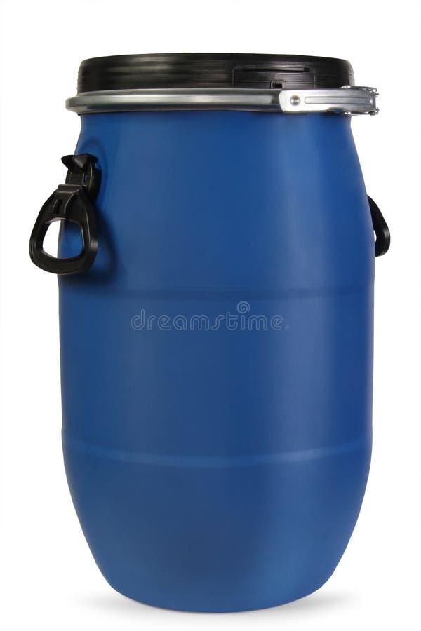 蓝色塑料桶 库存图片