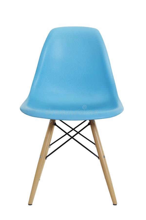 蓝色塑料椅子正面图  免版税库存图片