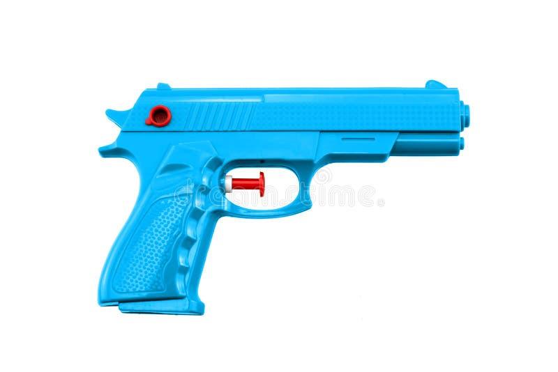 蓝色塑料水玩具枪 免版税库存图片
