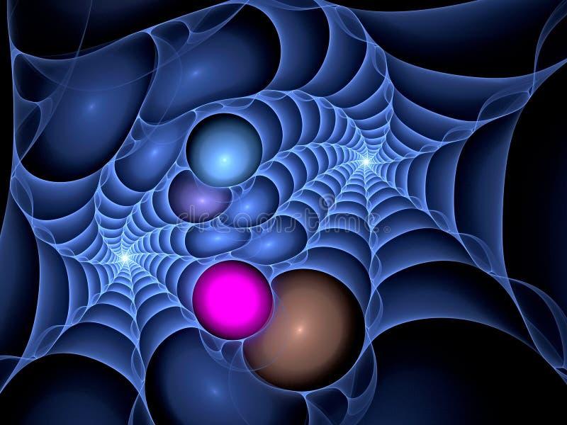 蓝色塑料spiderweb分数维 皇族释放例证