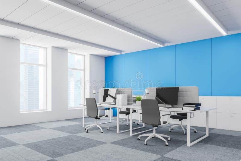 蓝色墙壁被收缩的办公室角落 皇族释放例证