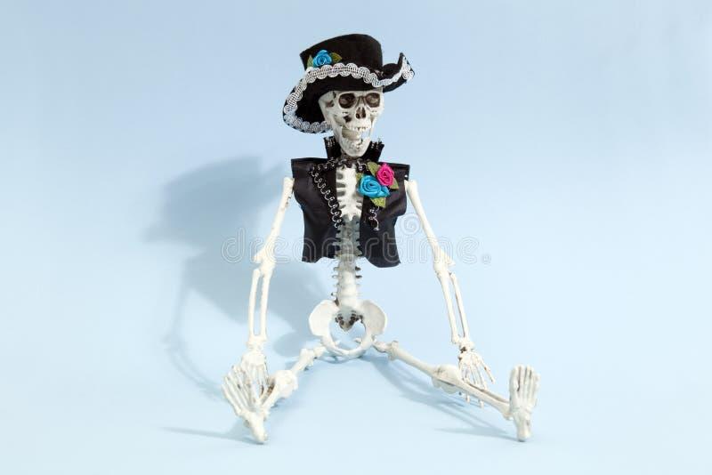 蓝色墨西哥骨骼 免版税库存图片