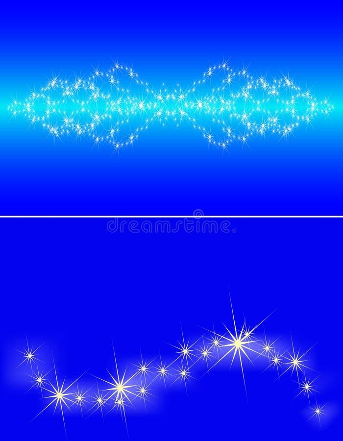 蓝色壅塞黑暗的天空星形 向量例证