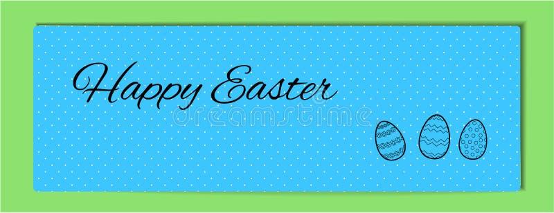 蓝色复活节水平的横幅白色小点 愉快的复活节 黑线的简单的逗人喜爱的例证与样式的三个鸡蛋 向量 库存例证