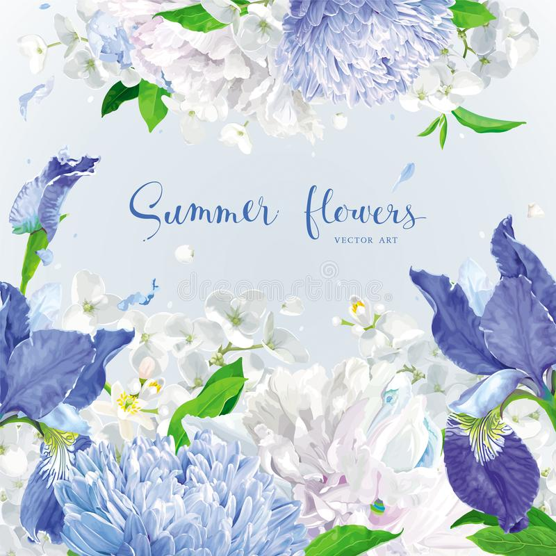 蓝色夏天开花背景 皇族释放例证