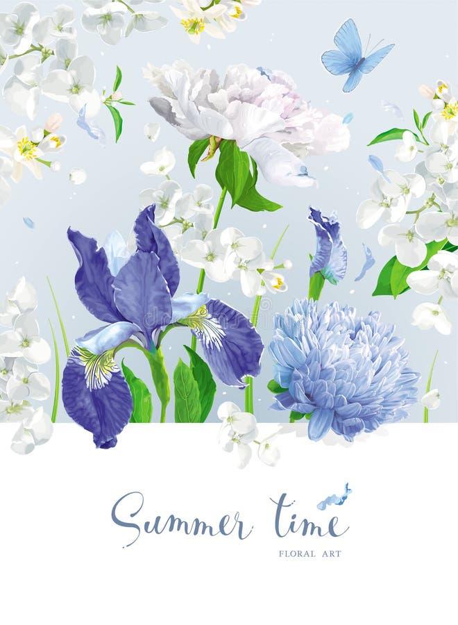 蓝色夏天开花花束 向量例证