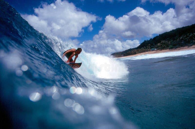 蓝色夏威夷北部岸冲浪者冲浪 免版税图库摄影