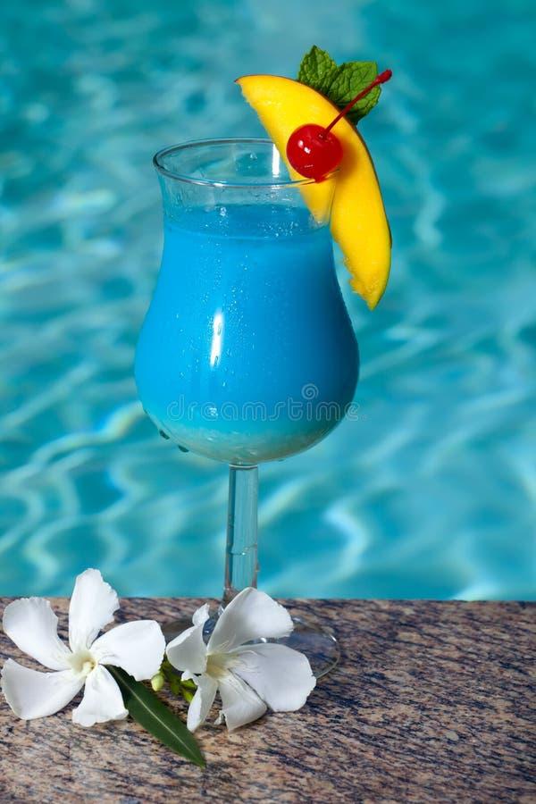 蓝色夏威夷游泳池边 免版税库存图片