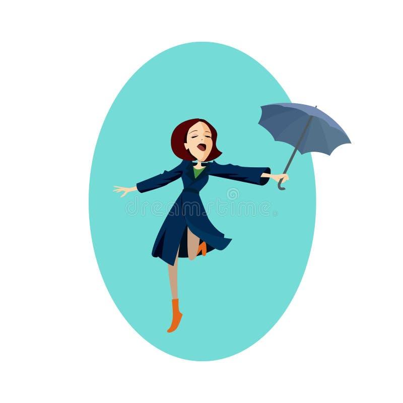 蓝色外套女孩的夫人在红色伞下在雨中 库存例证