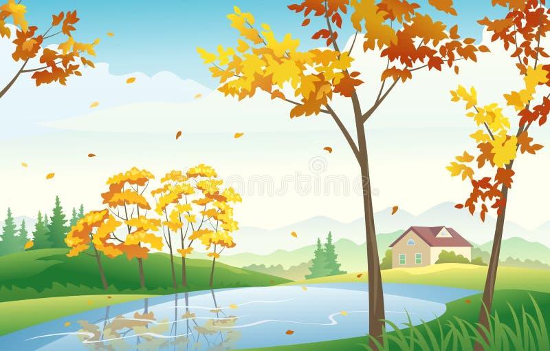 蓝色多云秋天域横向偏僻的天空结构树黄色 皇族释放例证