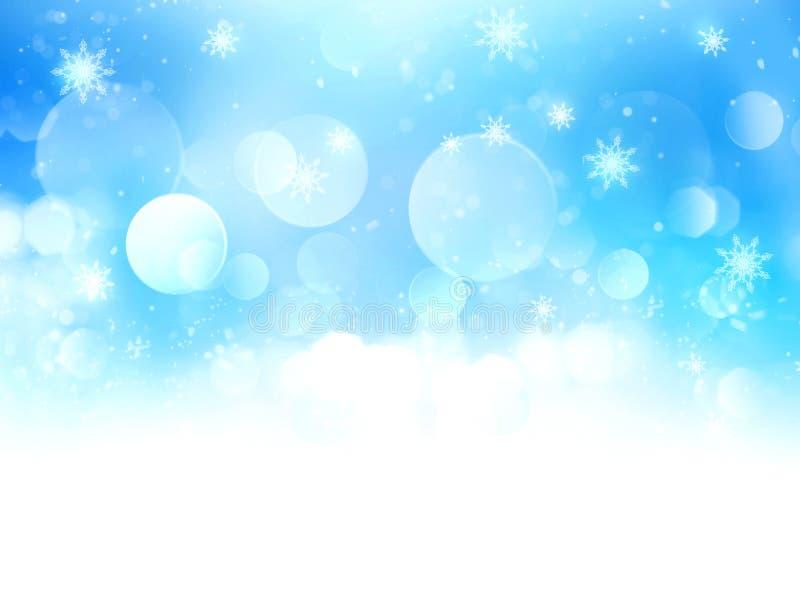 蓝色多雪的被弄脏的背景例证 向量例证