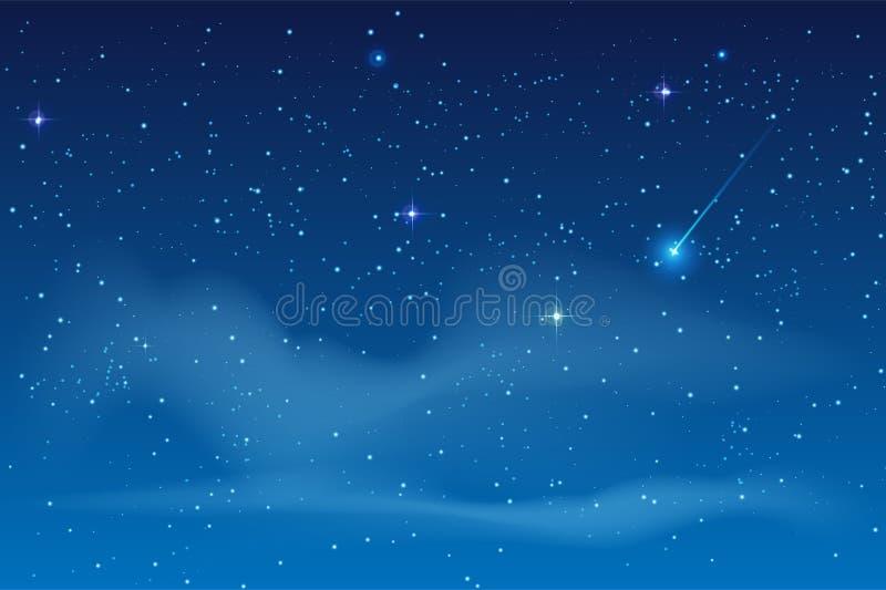 蓝色夜满天星斗的天空 落的明亮的星陨石 库存例证