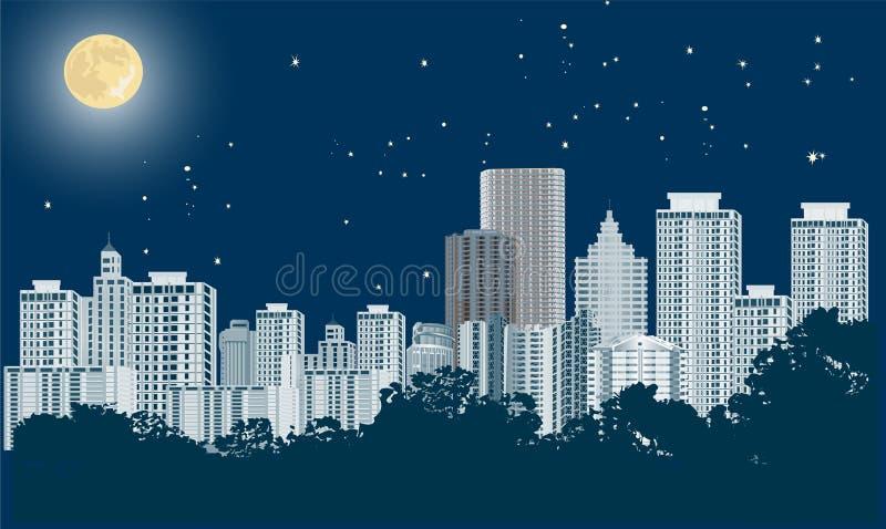 蓝色夜现代城市风景 库存例证
