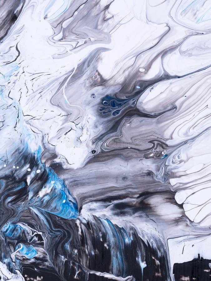 蓝色大理石创造性的抽象手画背景 向量例证