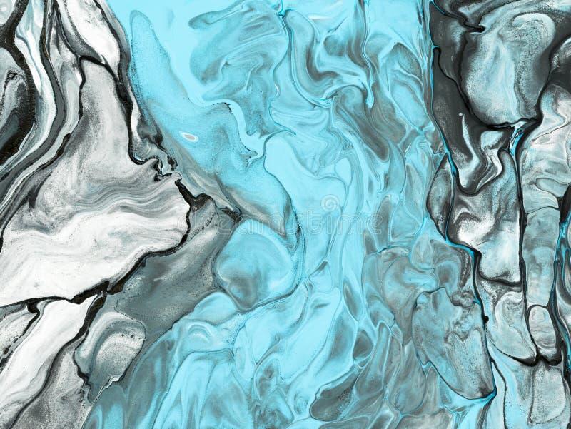 蓝色大理石抽象手画背景 皇族释放例证