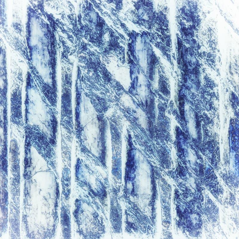 蓝色大理石抽象背景纹理 免版税库存照片