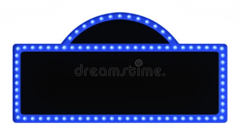 蓝色大门罩光板标志减速火箭在白色背景 3d翻译 皇族释放例证