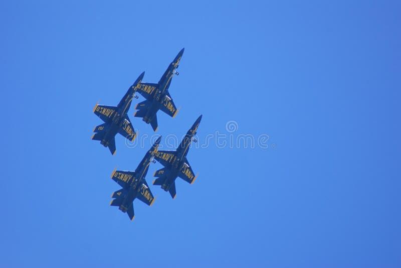 蓝色天使飞行表演小组 库存图片