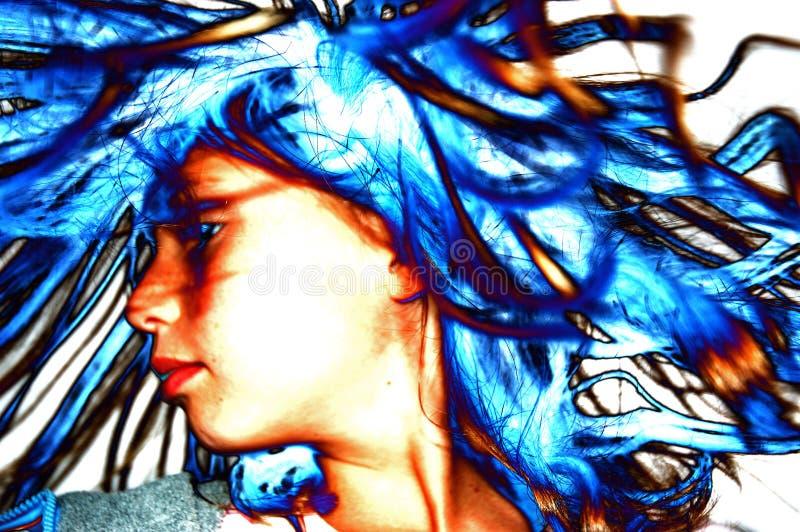 蓝色头发 库存图片