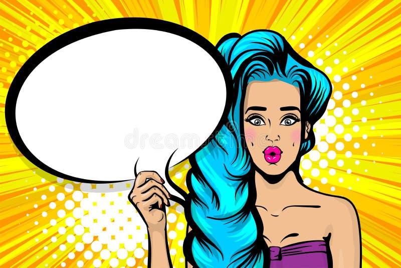 蓝色头发sesy流行艺术妇女讲话泡影 库存例证