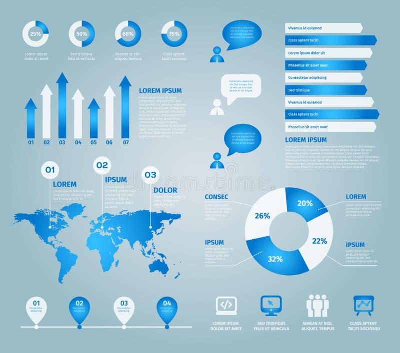 蓝色套传染媒介infographic元素 库存例证