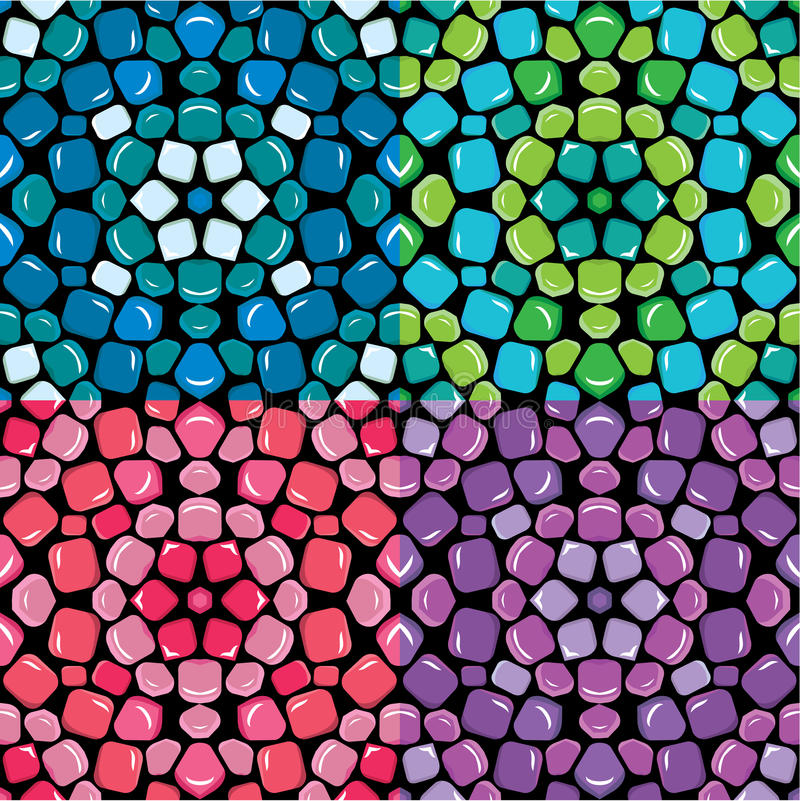 蓝色套无缝的马赛克的样式-,绿色,桃红色和紫色c 皇族释放例证