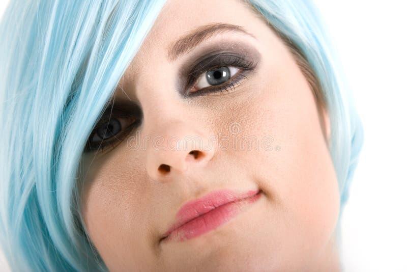 蓝色女孩头发 免版税库存照片