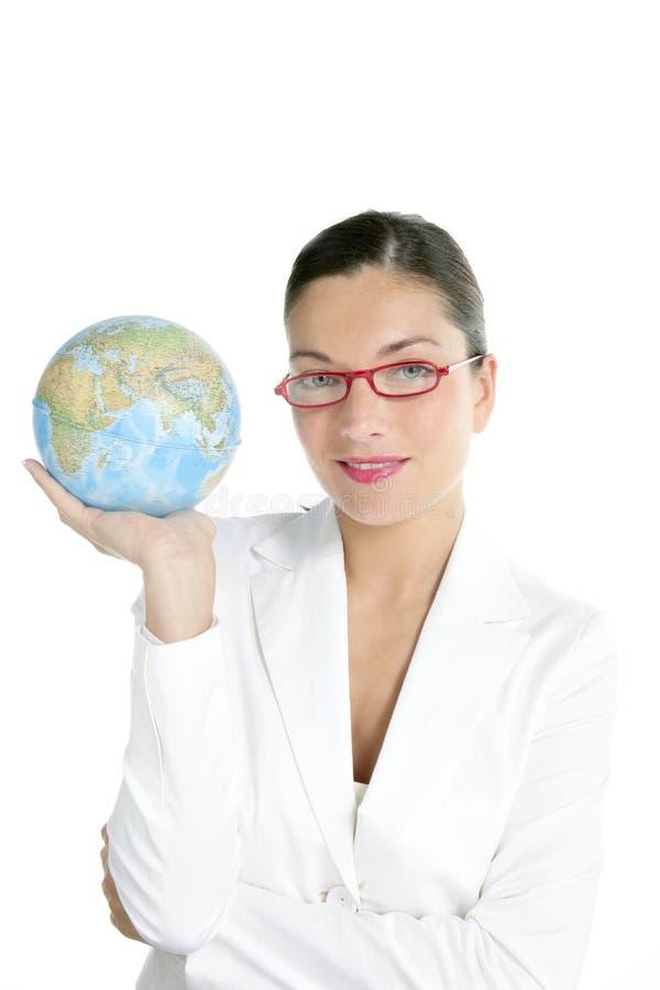 蓝色女实业家全球现有量映射世界 免版税图库摄影