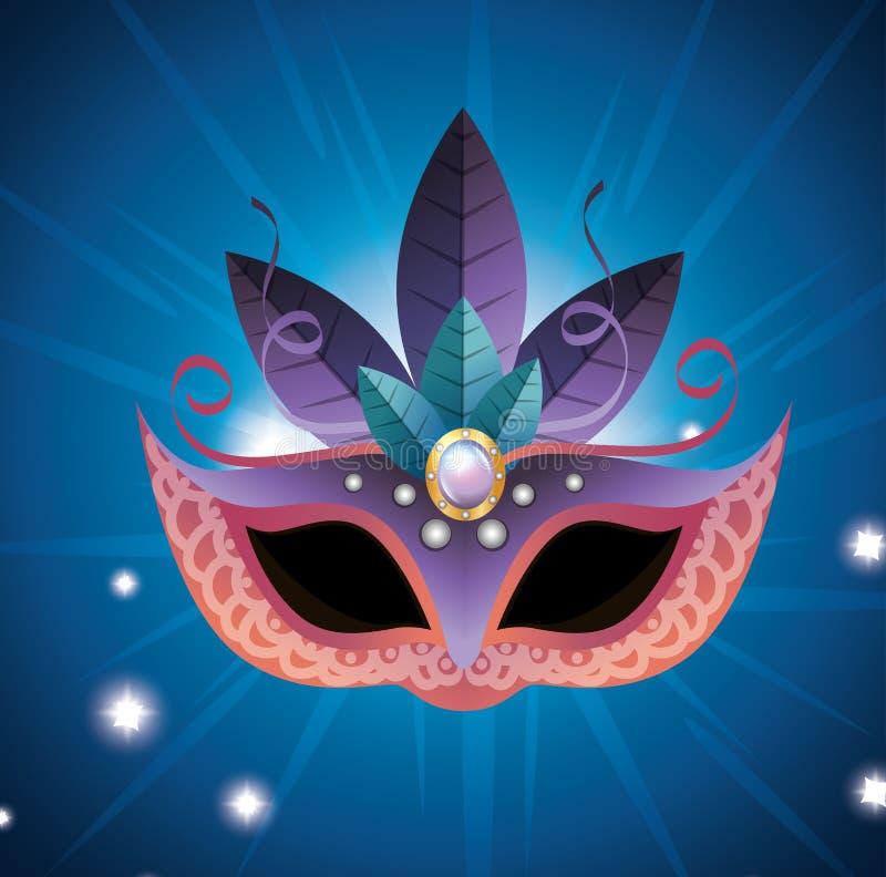 蓝色女性狂欢节的面具和明亮紫色的羽毛 库存例证