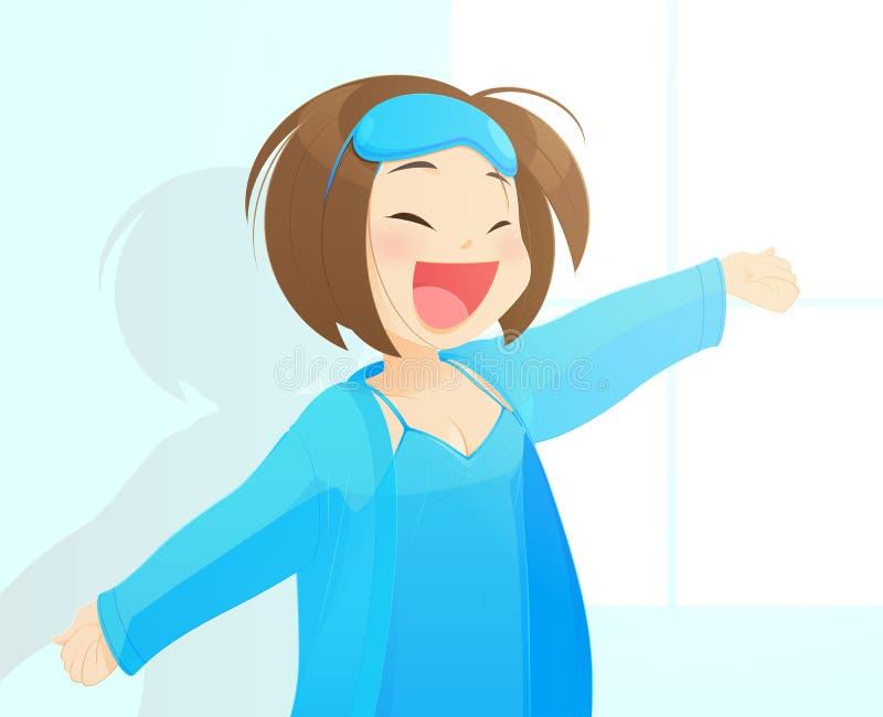 蓝色女睡袍的女孩享受晴朗的早晨 皇族释放例证