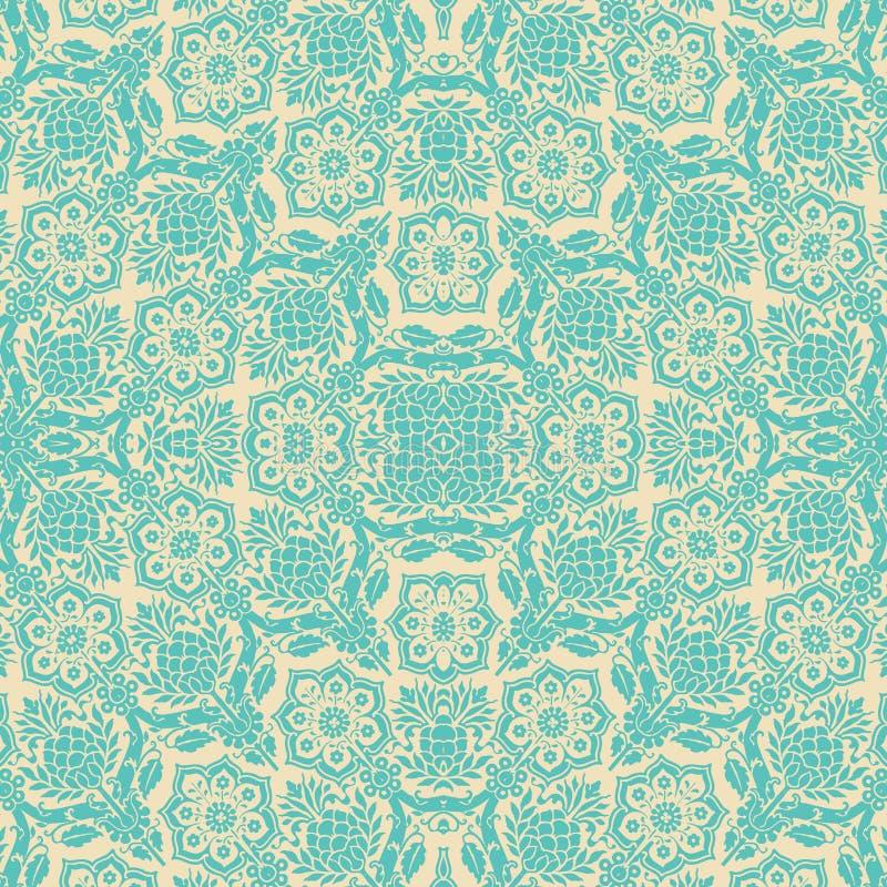 蓝色奶油色无缝锦缎花卉的模式 向量例证