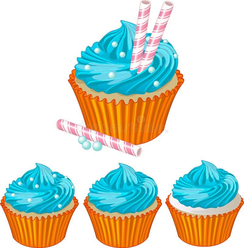 蓝色奶油色杯形蛋糕 向量例证