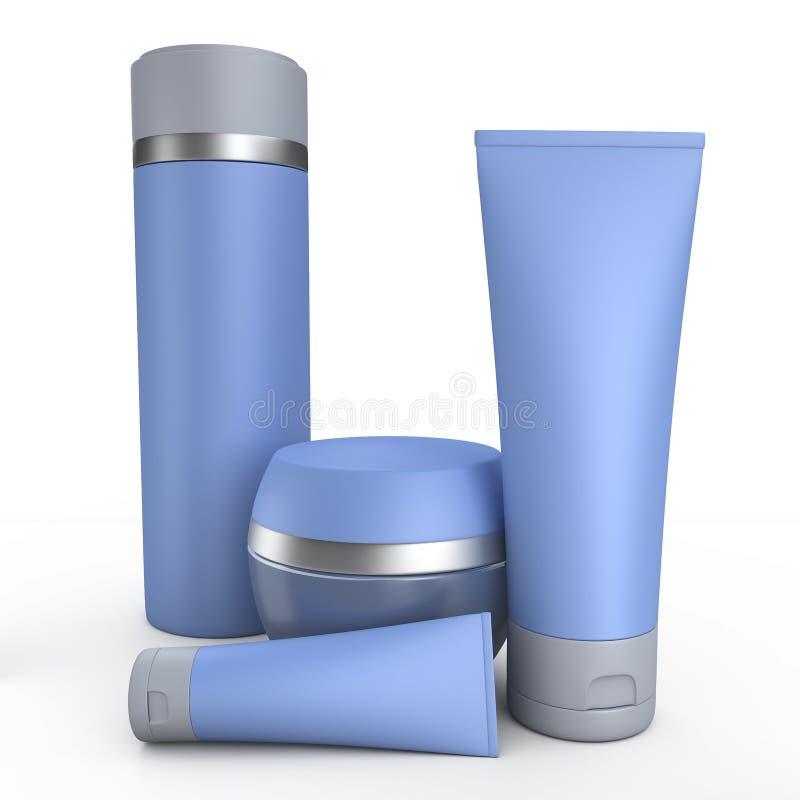 蓝色奶油色管3D例证 免版税库存图片