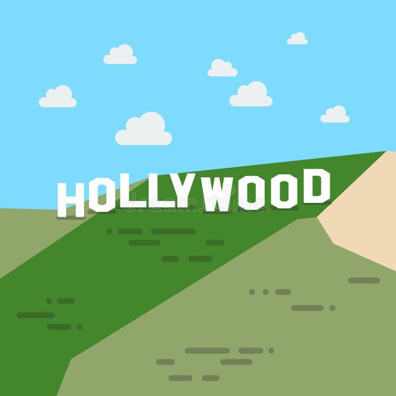 蓝色好莱坞符号天空 库存例证