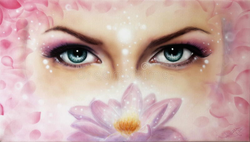 蓝色妇女眼睛放光 库存例证