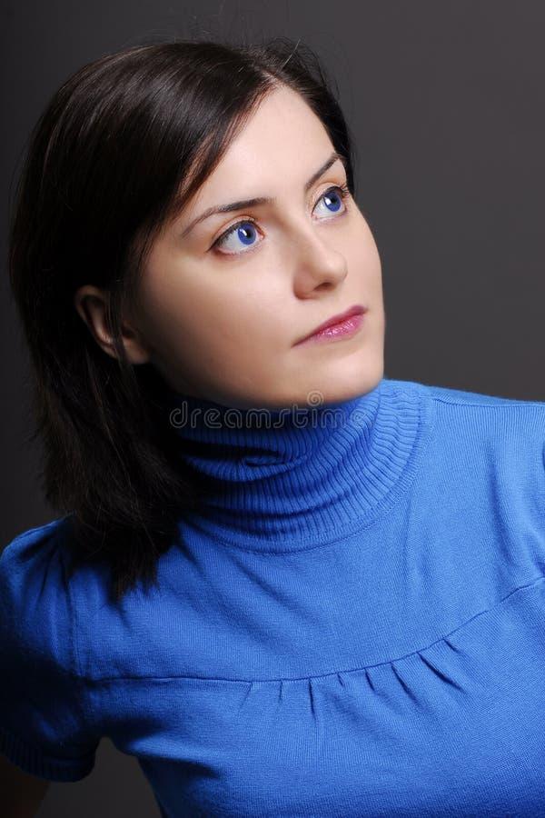 蓝色妇女 免版税图库摄影