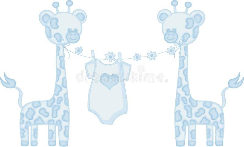 蓝色婴儿男孩长颈鹿 向量例证