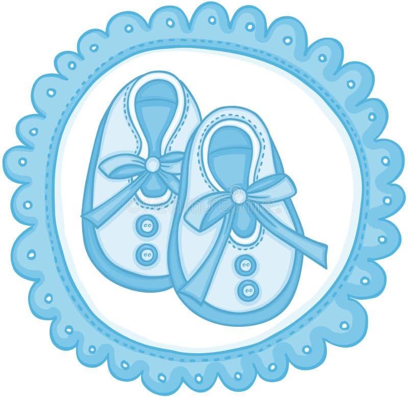 蓝色婴儿穿上鞋子围绕标签 向量例证