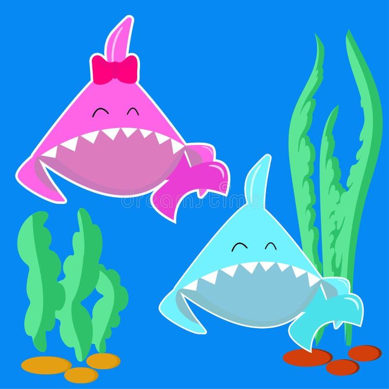 蓝色婴儿鲨鱼男孩和桃红色婴孩鲨鱼女孩 动画片在轻的背景隔绝的鱼字符 孩子党的斯蒂克在海军陆战队员 皇族释放例证