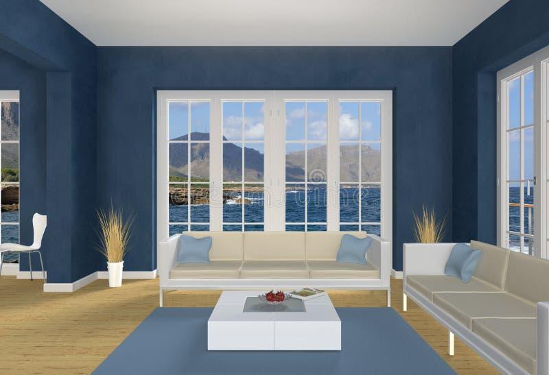蓝色客厅海边 库存图片