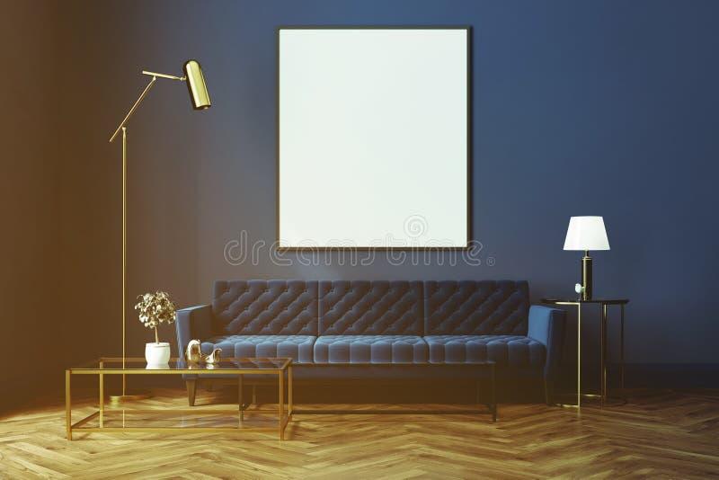 蓝色客厅,蓝色沙发,被定调子的海报 库存例证