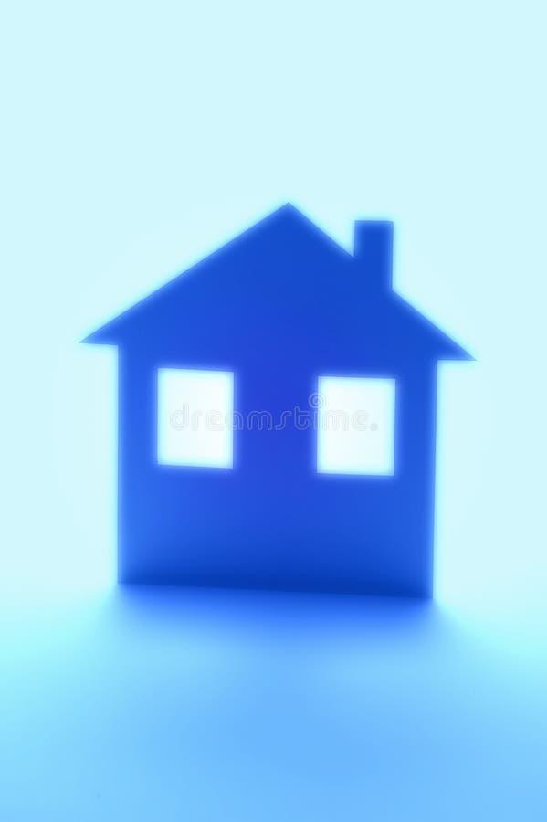 蓝色家庭房子保险 库存图片