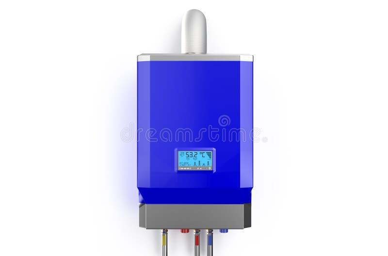 蓝色家庭以煤气为燃料的锅炉,水加热器 库存例证