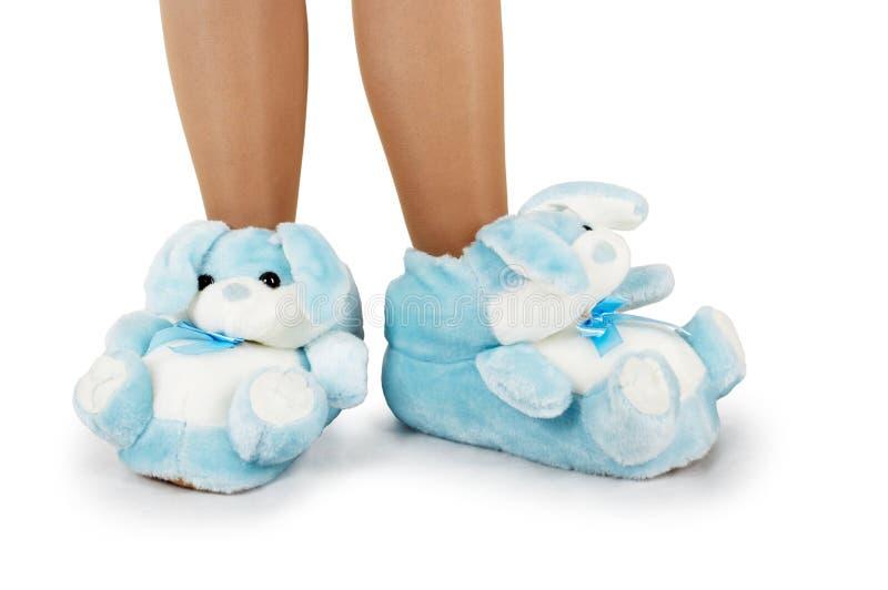 蓝色家用拖鞋 免版税库存图片