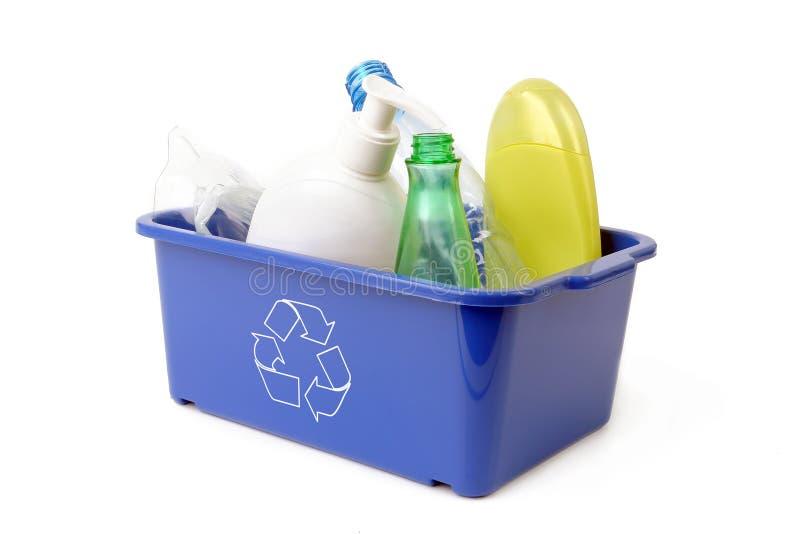 蓝色容器处理塑料 免版税库存图片
