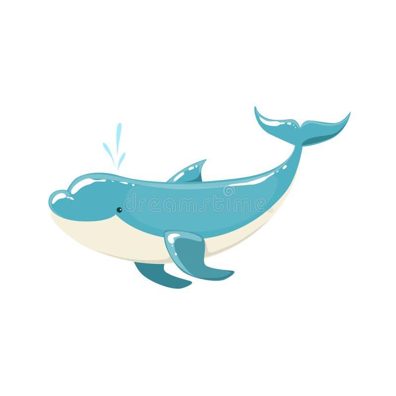 蓝色宽吻海豚跳跃为娱乐节目的,现实水栖哺乳动物传染媒介图画 库存例证