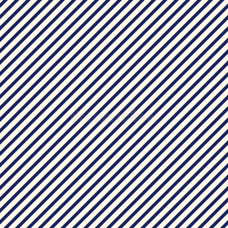 蓝色对角线镶边抽象背景 稀薄的倾斜的线墙纸 与简单的经典主题的无缝的样式 库存例证