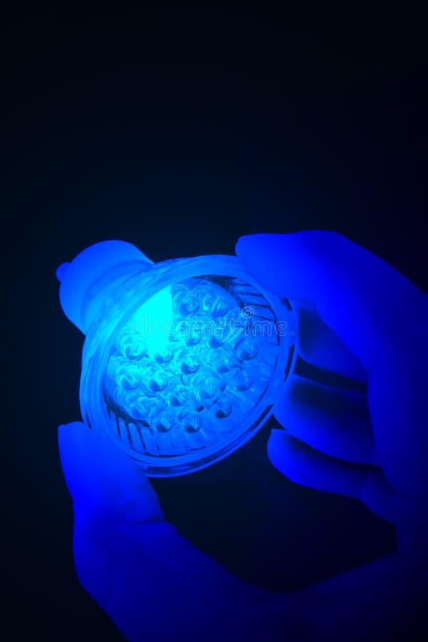 蓝色导致的电灯泡在手中。 库存图片