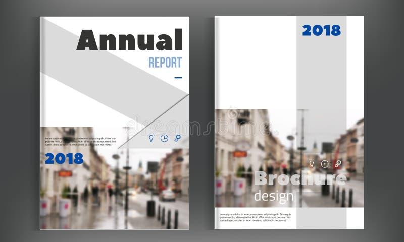 蓝色小册子盖子设计模板 年终报告布局,飞行物传单介绍 现代简单的干净的背景 皇族释放例证